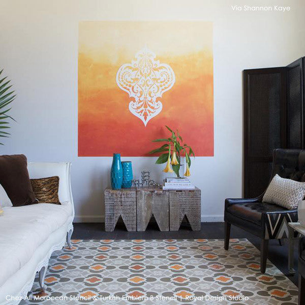 Chez Ali Stencil by Royal Design Studio - Paint a rug or floor with Moroccan Floor Stencils