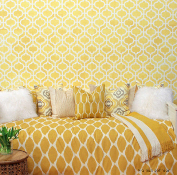 Yellow bedroom makeover using designer stencils - Decorate your home decor with stenciled walls with moroccan stencil patterns - Casbah Trellis Moroccan Wall Stencils - Royal Design Studio