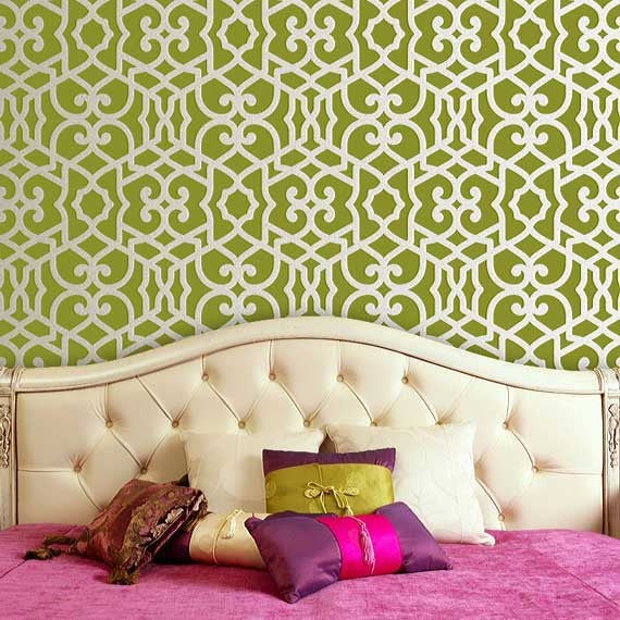 Colorful Wallpaper Look using Easy to Use Moroccan Stencils from Royal Design Studio