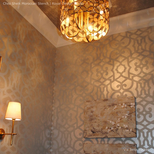 ... Chez Sheik Allover Wall Stencils for Painting Moroccan Design onto Walls  - Metallic Wall Decor ...