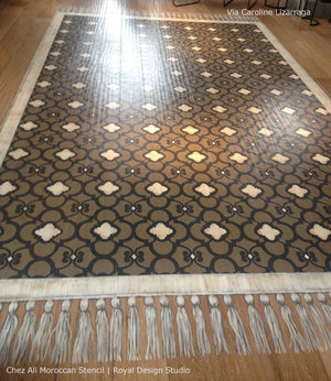 Painted Floor Rug with Exotic Stencil Designs - Moroccan Stencil Chez Ali Pattern and Floor Stencils by Royal Design Studio