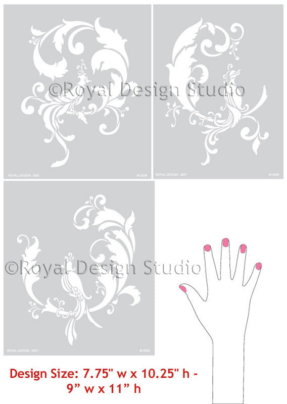 DIY Wall Painting with Oriental Chinois Birds Wall Stencil patterns