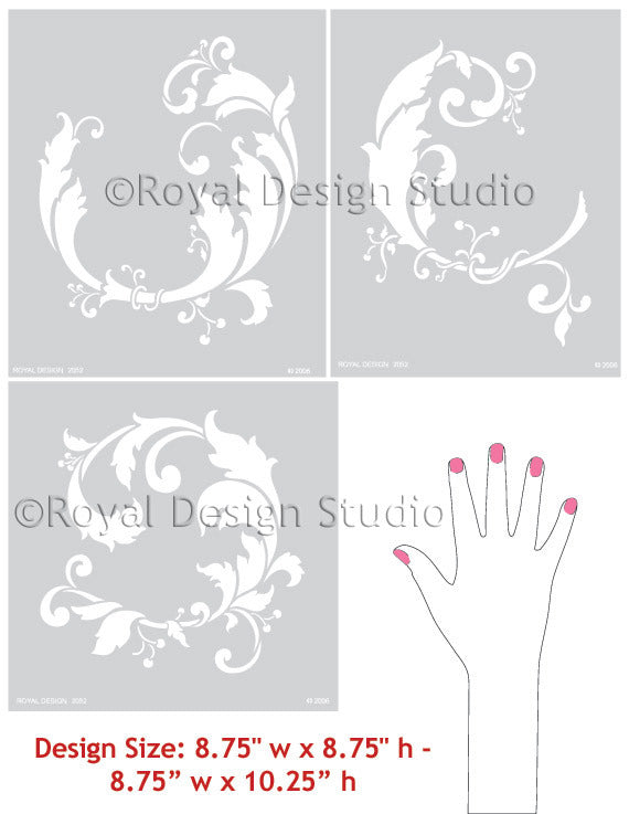 Classic Asian Decor Ideas using Wall Art Stencils - Chinois Leaves Wall Stencil patterns