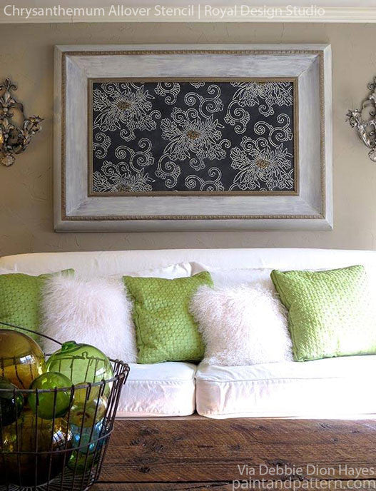 DIY Wall Art with Asian Stencils - Chrysanthemum Stencil by Royal Design Studio