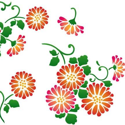 DIY Asian Wall Art Decor Stencils - Chrysanthemum Flower Stencils