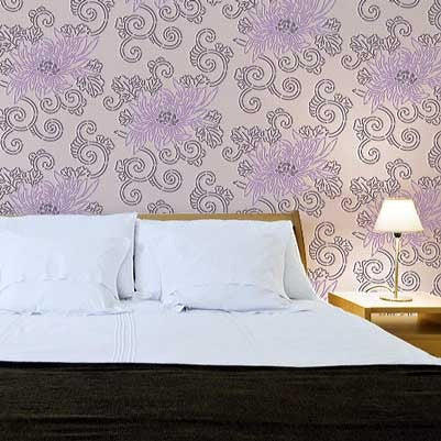 Painting an Accent Wall in the Bedroom with Asian Flower Stencils - Allover Pattern Stencils Chrysanthemum