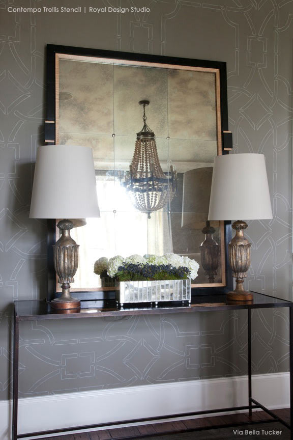 Gray and White Modern and Contemporary Home Decor - Contempo Trellis Wallpaper Wall Stencils - Royal Design Studio