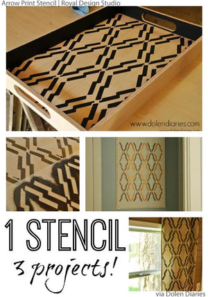 Stenciling Arts and Crafts with Tribal Patterns and African Design in Home Decor - DIY Stenciling Walls - Royal Design Studio Arrow Print Stencils