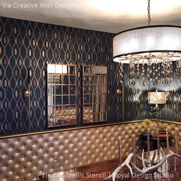 Dramatic and Elegant Dining Room Makeover Decorated with DIY Wallpaper Stencils - Elsabet Trellis Wall Stencils - Royal Design Studio