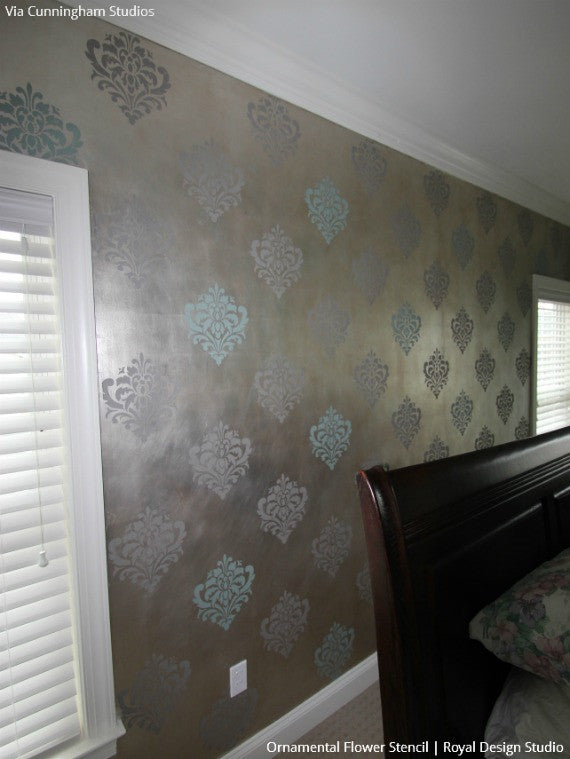Ornamental Flower Wall Stencil