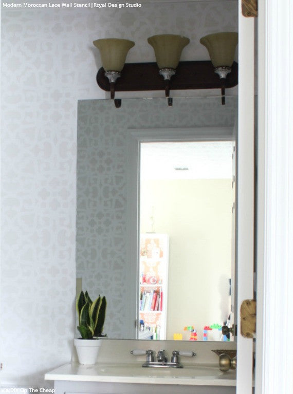 Chic White Bathroom Makeover with Pattern - Modern Moroccan Lace Wall Stencils - Royal Design Studio