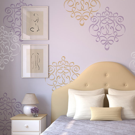 Allover Damask Ribbon Wall Stencils for Painting - Royal Design Studio