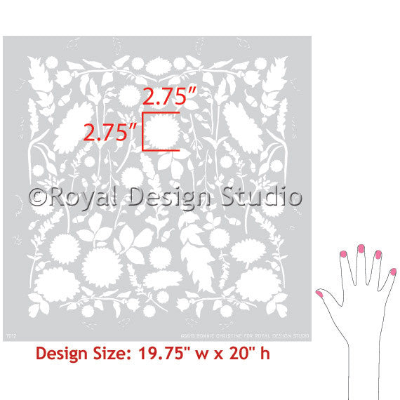 Floral damask stencil for allover repeating wallpaper pattern