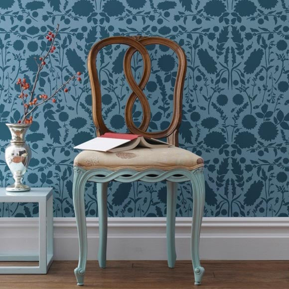 Intricate damask stencil, Forest Floor Damask, to create a wallpaper effect by Bonnie Christine for Royal Design Studio