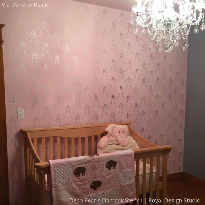 Deco Pearls Damask Wall Stencil