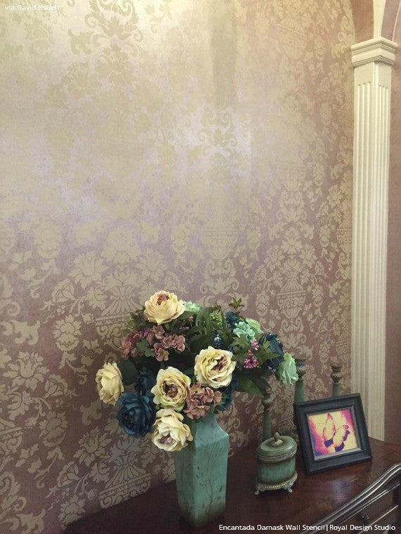 Metallic Sheen Painted and Stenciled Accent Wall - Encantada Damask Wall Stencils - Royal Design Studio