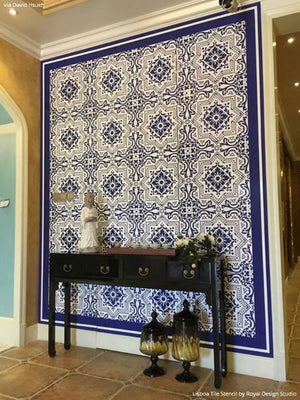 Blue and White Designer Wall Art on Entry Wall Walls - Lisboa Tile Stencils for DIY Decorating - Royal Design Studio