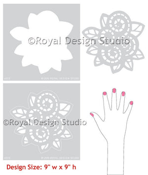 Decorating a girls room with DIY wall stencils and flower wall art - Royal Design Studio