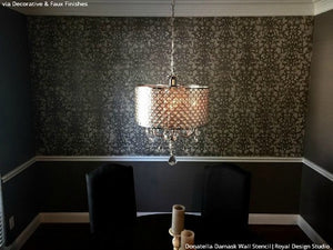 Chic and Elegant DIY Dining Room Makeover using Wallpaper Stencils - Donatella Damask Wall Stencils - Royal Design Studio