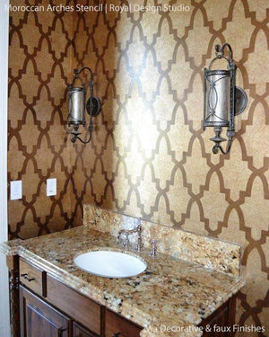 Elegant and Exotic Bathroom Makeover with Moroccan Arches Stencils - Royal Design Studio