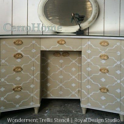 Chalk Paint Painted Furniture and Vanity DIY Project using Wonderment Trellis Furniture Stencils - Royal Design Studio