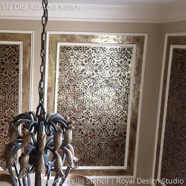 Elegant Metallic Wall Art Painted with Palace Trellis Moroccan Wall Stencils - Royal Design Studio
