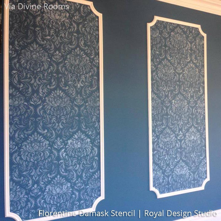 Dark Wall Art Decorating an Elegant Home - Painted with Florentine Damask Wall Stencils - Royal Design Studio