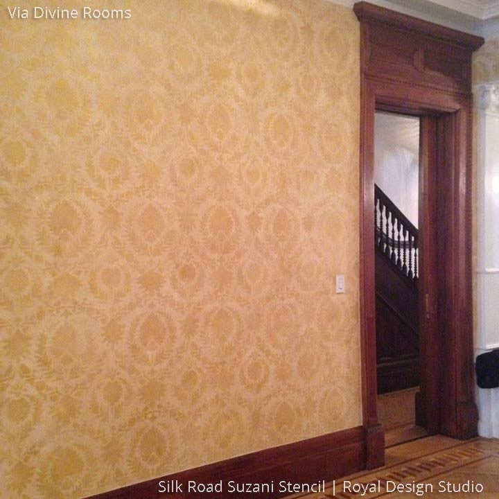 Hallway Makeover with Designer Wallpaper Stencils and Suzani Print Design - Royal Design Studio