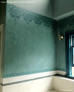 DIY Border Pattern in Bathroom using Classic Damask Wall Stencils - Royal Design Studio
