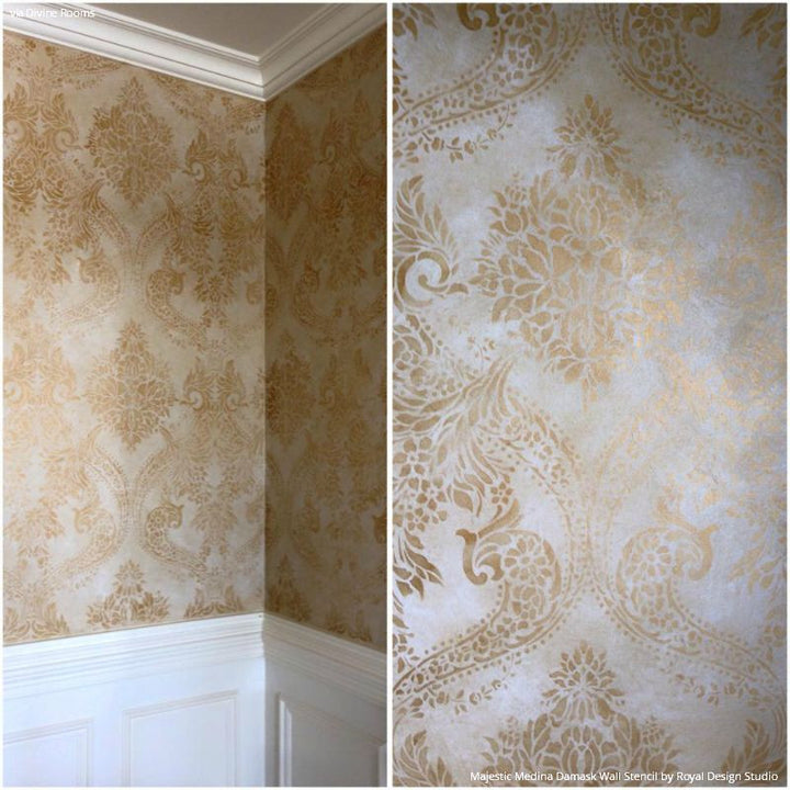 Elegant Rustic Gold Wall Decor Painted with Majestic Medina Damask Wall Stencils - Royal Design Studio