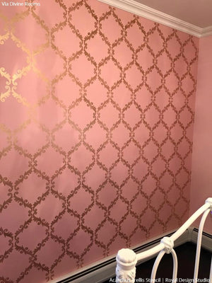 Girls Bedroom Makeover Wall Stencils Metallic Designs - Royal Design Studio
