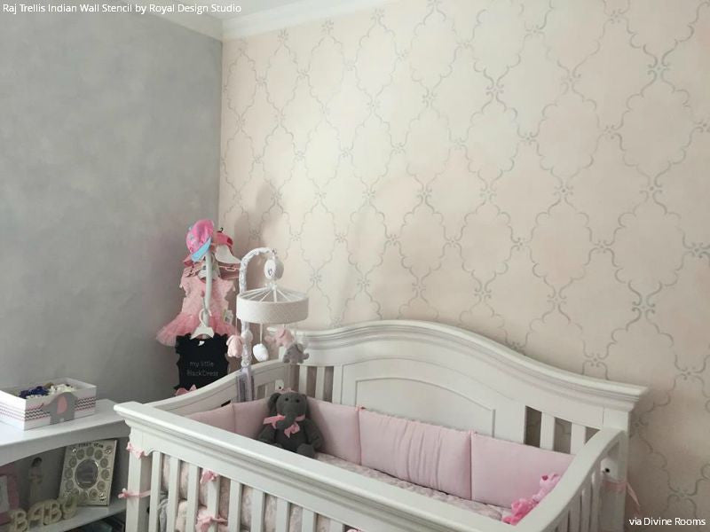 Cute Pink and Neutral Girls Nursery Decor - Raj Trellis Indian Wall Stencils on Accent Wall - Royal Design Studio