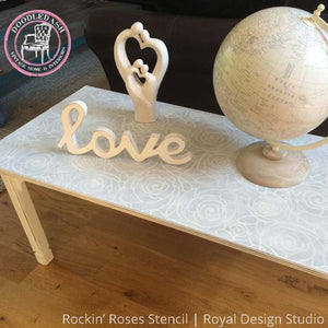 Gray and White Chalk Paint Painted Table Top with Rockin Roses Damask Stencils - Royal Design Studio