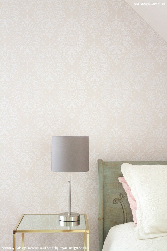 Soft Pastel Pink Wallpaper Look with Designer Stencils - Bombay Paisley Damask Wall Stencils - Royal Design Studio