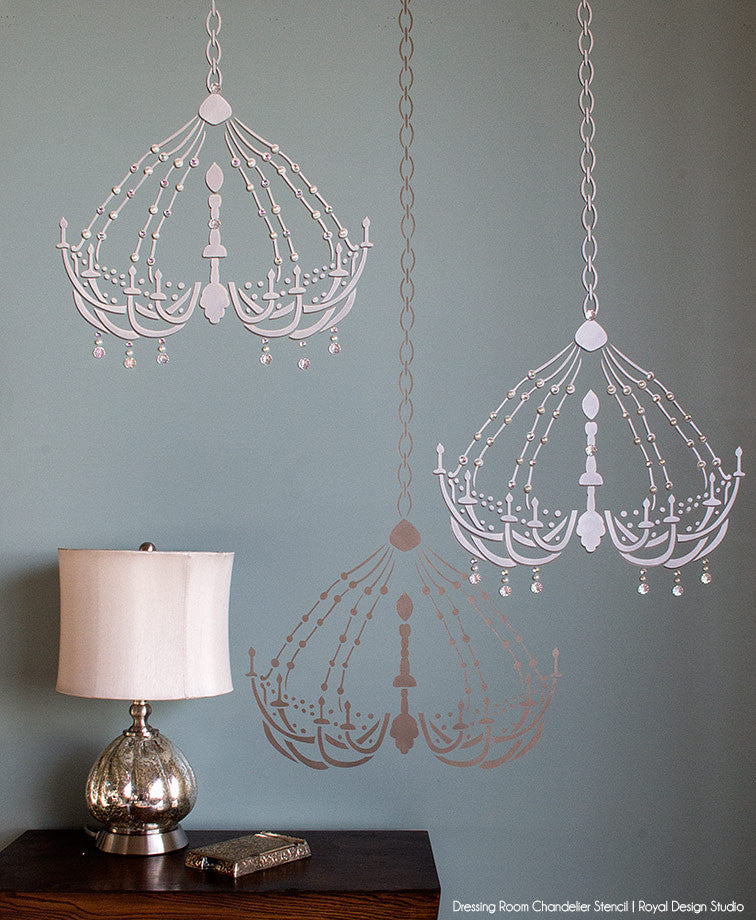 Painting girly wall art - Chandelier wall stencils for cute baby girl nursery decor - Royal Design Studio