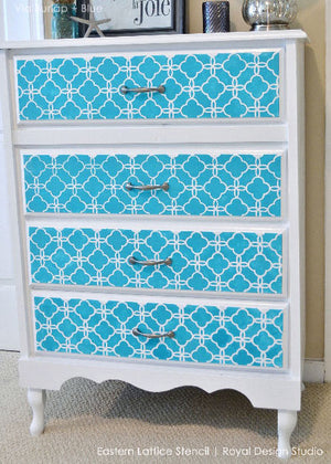 Painting Dresser Drawers with Pattern - Eastern Lattice Moroccan Furniture Stencils - DIY Stenciled Dresser Drawers for Custom Furniture Patterns - Royal Design Studio