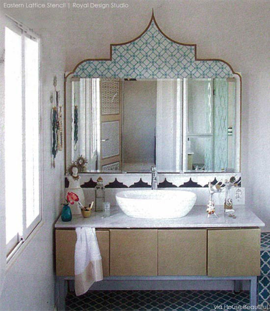 Eastern Lattice Moroccan Furniture Stencils - DIY Stenciled Bathroom Vanity for Custom Furniture Patterns - Royal Design Studio
