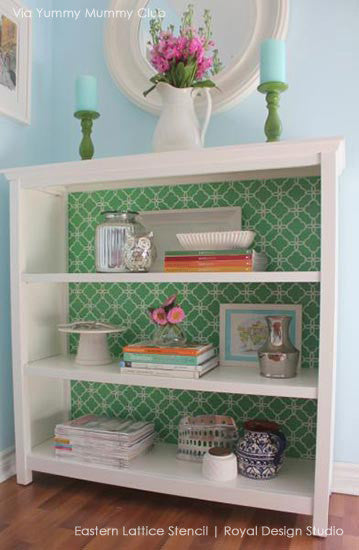 DIY Furniture Projects using Stencils - Eastern Lattice Moroccan Furniture Stencils - DIY Stenciled Dresser Drawers for Custom Furniture Patterns - Royal Design Studio