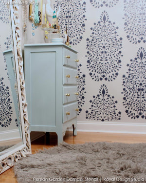 Trendy Stenciled Walls with Floral Patterns - Persian Flower Garden Allover Damask Wall Stencil - Royal Design Studio