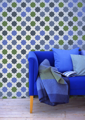 Colroful Living Room Makeover using Moroccan Stencils Eight Pointed Stars Wall Stencils - Royal Design Studio