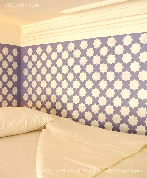 Gorgeous Room Makeover using Moroccan Stencils Eight Pointed Stars Wall Stencils - Royal Design Studio