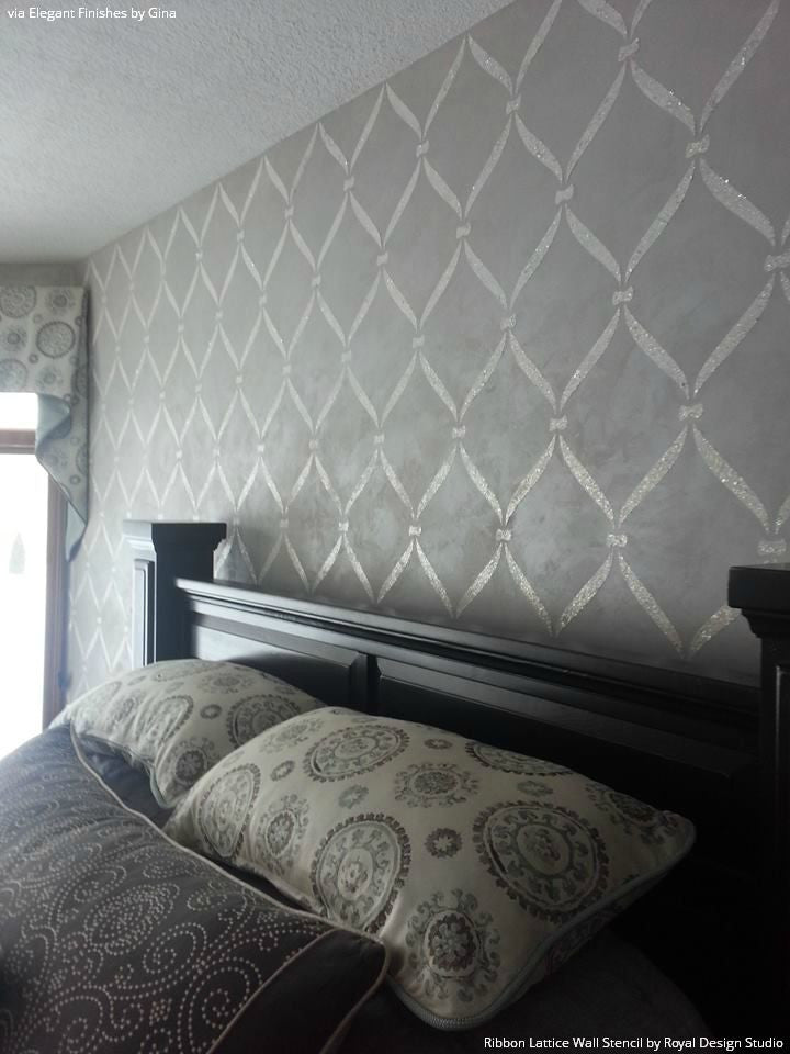 Designer Gray Bedroom Makeover and Painted Accent Wall - Ribbon Lattice Wall Stencils - Royal Design Studio