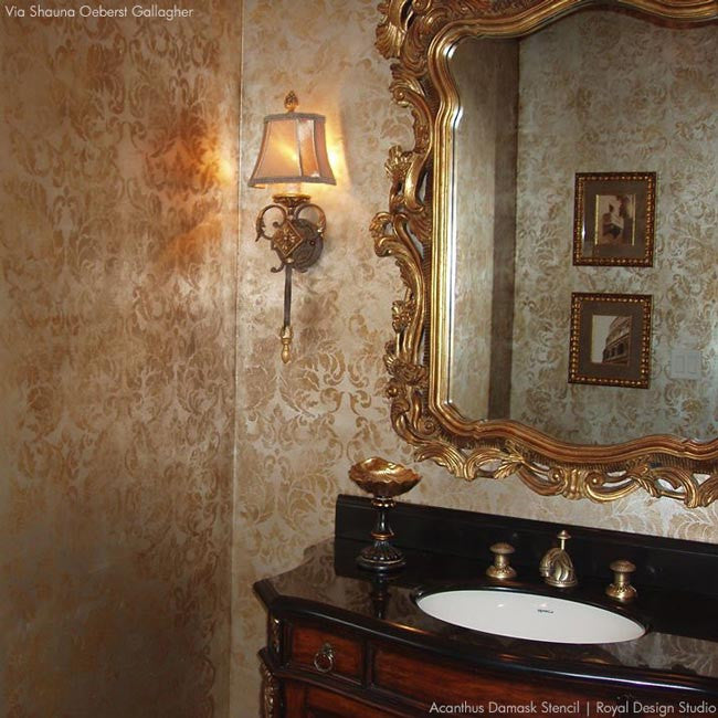 Metallic Wallpaper Look using Elegant Acanthus Damask Wall Stencils - Royal Design Studio