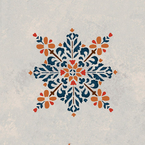 Moroccan Stencils Embroidered Star Stencil Royal