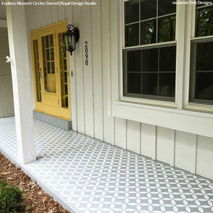Painted Concrete Floor - DIY Patio Porch Decor - Circles Tile Floor Stencils