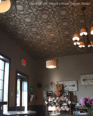 Painted Ceiling DIY Project using Floral African and Tribal Stencils - Royal Design Studio