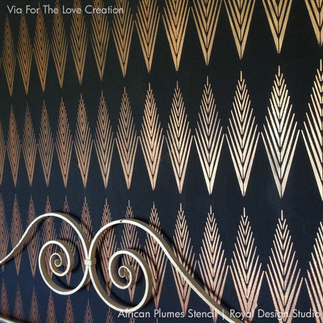 Geometric Pattern Wall Stencils with Dark & Metallic Paints