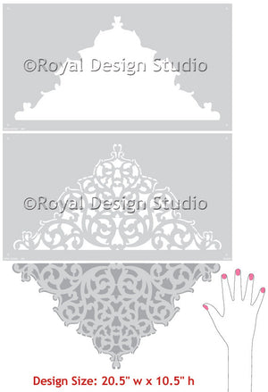 European Lace Center Ceiling Stencil design
