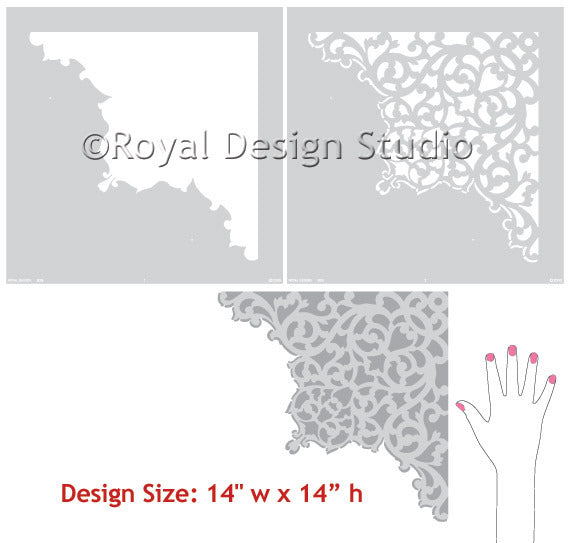 European Lace Corner Ceiling Stencil patterns