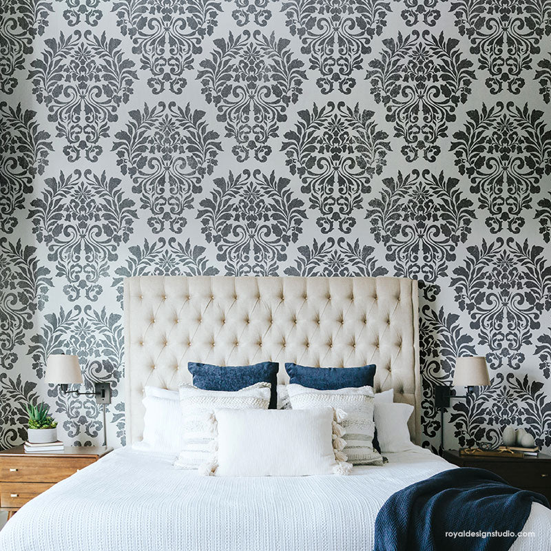 Fabric Damask Wall Stencil
